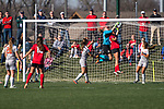 KANSAS CITY, MO - DECEMBER 02:  Jacqueline Burns (28) of Carson-Newman University makes a save over Jada Scott (28) of the University of Central Missouri during the Division II Women's Soccer Championship held at the Swope Soccer Village on December 2, 2017 in Kansas City, Missouri. (Photo by Doug Stroud/NCAA Photos/NCAA Photos via Getty Images)