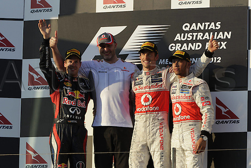 18.03.2012. Melbourne, Australia.   Sebastian Vettel Red Bull Racing McLaren  John Iley Jenson Button McLaren Mercedes Lewis Hamilton McLaren Mercedes GP Australia 2012 Formula 1 Grand Prix  Jenson Button won the race with Sebbastian Vettel in second and Lewis Hamilton in third place.