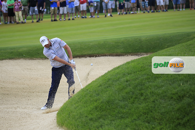 Marc Leishman (AUS) chips from a bunker at the 9th green during Friday's Round 1 of the 2016 U.S. Open Championship held at Oakmont Country Club, Oakmont, Pittsburgh, Pennsylvania, United States of America. 17th June 2016.<br /> Picture: Eoin Clarke | Golffile<br /> <br /> <br /> All photos usage must carry mandatory copyright credit (&copy; Golffile | Eoin Clarke)