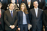 Princess Letizia of Spain with the President of La Rioja Pedro Sanz (l) and the Secretary of State of Security Francisco Martinez Vazquez visit the villages of Haro and San Millan de la Cogolla.May 14,2013. (ALTERPHOTOS/Acero)