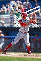 Williamsport Crosscutters first baseman Brendon Hayden (43) at bat during a game against the Batavia Muckdogs on July 16, 2015 at Dwyer Stadium in Batavia, New York.  Batavia defeated Williamsport 4-2.  (Mike Janes/Four Seam Images)