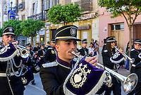 Musiker  der Bruderschaft Paso Morada bei  der Semana Santa (Karwoche) in Lorca,  Provinz Murcia, Spanien, Europa