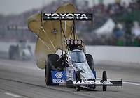 Apr. 26, 2013; Baytown, TX, USA: NHRA top fuel dragster driver Antron Brown during qualifying for the Spring Nationals at Royal Purple Raceway. Mandatory Credit: Mark J. Rebilas-