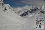 Austria, St Anton.  <br /> The snow was as good as Colorado's! View from the Valluga 2 Gondola, St Anton Ski Area, The very top of St Anton is Valluga Peak at 9,222 feet above sea level. The base of Breckenridge, a popular Colorado ski area is 9,600 feet and the ski lifts top out at 12,998 feet.