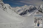 Austria, St Anton.  <br /> The snow was as good as Colorado's! View from Valluga 2 Gondola, St Anton Ski Area, Austria.