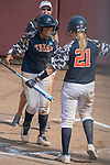 30 MAY 2016: University of Texas-Tyler batter Vanessa Carrizales (left) celebrates with teammate KK Stephens (21) after hitting a home-run during the Division III Women's Softball Championship held at the James I Moyer Sports Complex in Salem, VA.  University of Texas-Tyler defeated Messiah College 7-0 for the national title.  Don Petersen/NCAA Photos