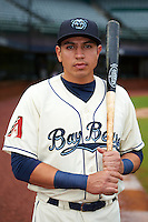 Mobile BayBears first baseman Rudy Flores (34) poses for a photo before a game against the Mississippi Braves on April 28, 2015 at Hank Aaron Stadium in Mobile, Alabama.  The game was suspended after the top of the second inning with Mobile leading 3-0, the BayBears went on to defeat the Braves 6-1 the following day.  (Mike Janes/Four Seam Images)