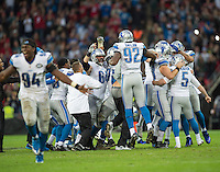 26.10.2014.  London, England.  NFL International Series. Atlanta Falcons versus Detroit Lions. Lion's players celebrate their last minute win over Atlanta.