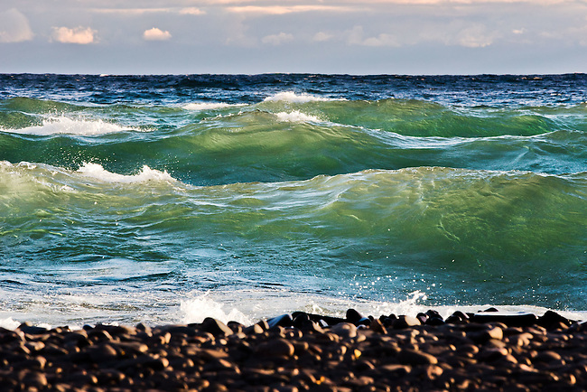 illuminated waves, Lake Superior