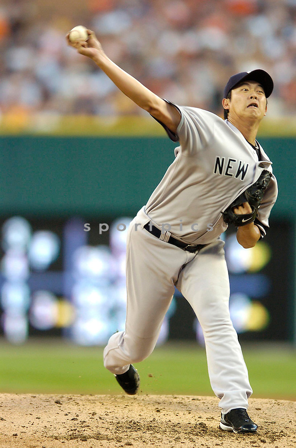 CHEIN MING WANG, of the New York Yankees , in action during the Yankees game against the Detroit Tigers in Detroit, MI on August 26, 2007...Tigers win 5-4..CHRIS BERNACCHI/ SPORTPICS.....