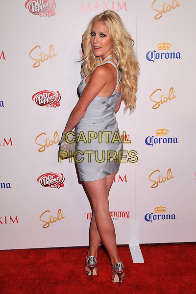 HEIDI MONTAG .The Maxim's Hot 100 List Party held at Barker Hangar in Santa Monica, California, USA..May 13th, 2009 .full length grey gray silver blue dress clutch bag sandals shoes looking over shoulder .CAP/ADM/BP.©Byron Purvis/AdMedia/Capital Pictures.