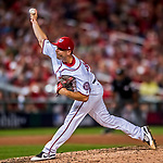 6 October 2017: Washington Nationals pitcher Brandon Kintzler on the mound in the first game of the NLDS against the Chicago Cubs at Nationals Park in Washington, DC. The Cubs shut out the Nationals 3-0 to take a 1-0 lead in their best of five Postseason series. Mandatory Credit: Ed Wolfstein Photo *** RAW (NEF) Image File Available ***
