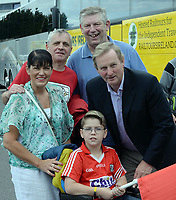 2-7-2017: Former Taoiseach Enda Kenny with Eamonn O'Sullivan, Gerard, Brenda and Kevin Lower at the Kerry V Cork Munster Football final in Killarney on Sunday.<br /> Photo: Don MacMonagle
