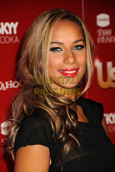 LEONA LEWIS .At US Weekly's Hot Hollywood Party 2009 held at Voyeur, West Hollywood, California, USA, .18th November 2009..portrait headshot red lipstick black sheer see through top t-shirt thru make-up eyeliner smiling .CAP/ADM/BP.©Byron Purvis/AdMedia/Capital Pictures.