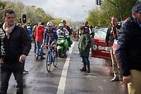 Gaetan Bille (BEL/Wanty-Groupe Gobert) after finishing searching for the teambus<br /> <br /> 102nd Li&egrave;ge-Bastogne-Li&egrave;ge 2016