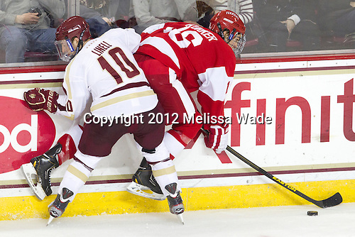 Danny Linell (BC - 10), Sam Kurker (BU - 16) - The Boston College Eagles defeated the visiting Boston University Terriers 5-2 on Saturday, December 1, 2012, at Kelley Rink in Conte Forum in Chestnut Hill, Massachusetts.