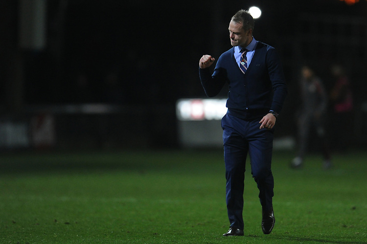 Newport County manager Michael Flynn celebrates his sides win<br /> <br /> Photographer Kevin Barnes/CameraSport<br /> <br /> The EFL Sky Bet League Two - Newport County v Colchester United - Saturday 17th November 2018 - Rodney Parade - Newport<br /> <br /> World Copyright © 2018 CameraSport. All rights reserved. 43 Linden Ave. Countesthorpe. Leicester. England. LE8 5PG - Tel: +44 (0) 116 277 4147 - admin@camerasport.com - www.camerasport.com