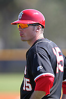 Brendan Monaghan #15 of the St. John's Red Storm during a game vs the Ohio State Buckeyes at the Big East-Big Ten Challenge at Walter Fuller Complex in St. Petersburg, Florida;  February 20, 2011.  Ohio State defeated St. John's 8-7 in 11 innings.  Photo By Mike Janes/Four Seam Images