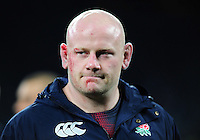 Dan Cole of England looks on after the match. Old Mutual Wealth Series International match between England and Argentina on November 26, 2016 at Twickenham Stadium in London, England. Photo by: Patrick Khachfe / Onside Images