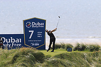 Matthieu Pavon (FRA) tees off the 7th tee during Thursday's Round 1 of the Dubai Duty Free Irish Open 2019, held at Lahinch Golf Club, Lahinch, Ireland. 4th July 2019.<br /> Picture: Eoin Clarke | Golffile<br /> <br /> <br /> All photos usage must carry mandatory copyright credit (© Golffile | Eoin Clarke)