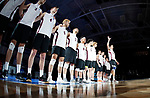 KENOSHA, WI - APRIL 28:  The Springfield College Men's Volleyball is introduced at the Division III Men's Volleyball Championship held at the Tarble Athletic and Recreation Center on April 28, 2018 in Kenosha, Wisconsin. (Photo by Steve Woltmann/NCAA Photos via Getty Images)