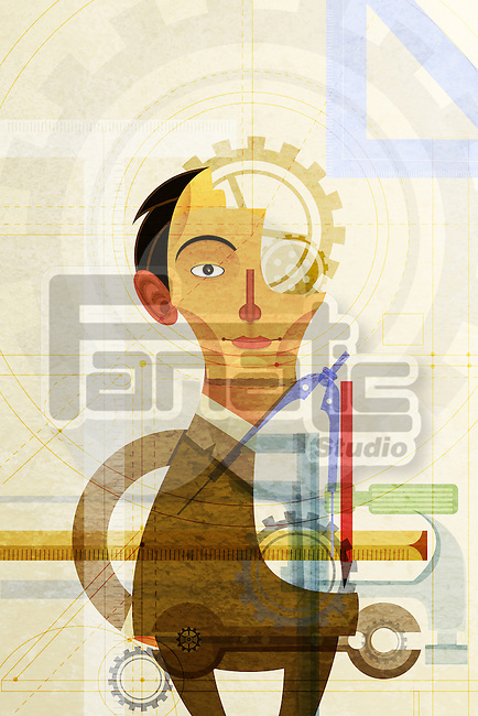 Illustrative image of businessman with machine parts representing business mechanism