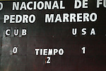 06 September 2008: The scoreboard shows the final score. The United States Men's National Team defeated the Cuba Men's National Team 1-0 at Estadio Nacional de Futbol Pedro Marrero in Havana, Cuba in a CONCACAF semifinal round FIFA 2010 South Africa World Cup Qualifier.