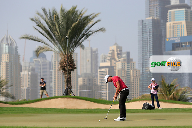 Haydn Porteous (RSA) on the 8th green during Round 2 of the Omega Dubai Desert Classic, Emirates Golf Club, Dubai,  United Arab Emirates. 25/01/2019<br /> Picture: Golffile | Thos Caffrey<br /> <br /> <br /> All photo usage must carry mandatory copyright credit (© Golffile | Thos Caffrey)