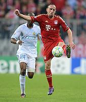 FUSSBALL   CHAMPIONS LEAGUE  VIERTELFINAL RUECKSPIEL   2011/2012      FC Bayern Muenchen - Olympic Marseille          03.04.2012 Franck Ribery (vorn re, FC Bayern Muenchen) gegen Rod Fanni (Olympique Marseille)