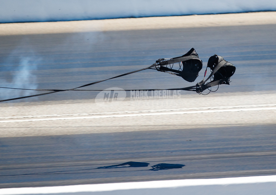 May 7, 2017; Commerce, GA, USA; Detailed view of the pilot chutes for the parachutes on the dragster of NHRA top fuel driver Steve Torrence deploy during the Southern Nationals at Atlanta Dragway. Mandatory Credit: Mark J. Rebilas-USA TODAY Sports