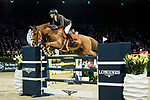 Simon Delestre of France riding Chesall Zimequest competes in the Longines Grand Prix during the Longines Masters of Hong Kong at AsiaWorld-Expo on 11 February 2018, in Hong Kong, Hong Kong. Photo by Ian Walton / Power Sport Images
