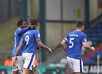 GOAL - Oldham Athletic's Craig Davies celebrates with his team mates during the Sky Bet League 1 match between Oldham Athletic and Rotherham United at Boundary Park, Oldham, England on 13 January 2018. Photo by Juel Miah / PRiME Media Images.