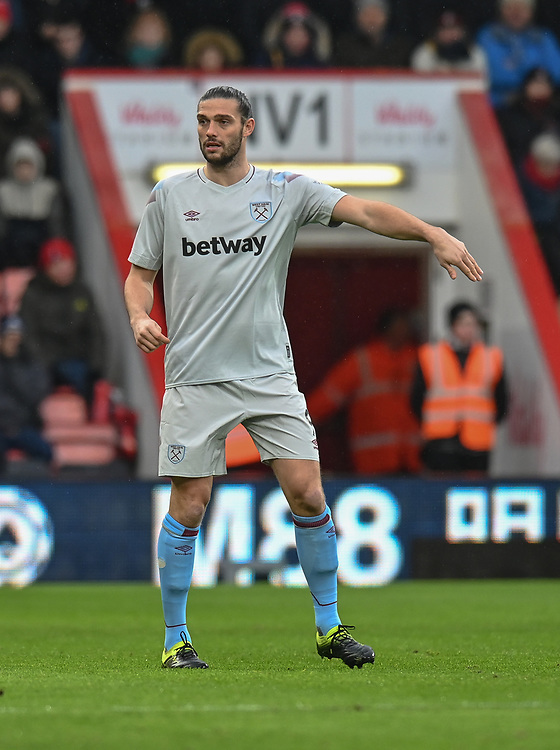 West Ham United's Andy Carroll<br /> <br /> Photographer David Horton/CameraSport<br /> <br /> The Premier League - Bournemouth v West Ham United - Saturday 19 January 2019 - Vitality Stadium - Bournemouth<br /> <br /> World Copyright &copy; 2019 CameraSport. All rights reserved. 43 Linden Ave. Countesthorpe. Leicester. England. LE8 5PG - Tel: +44 (0) 116 277 4147 - admin@camerasport.com - www.camerasport.com