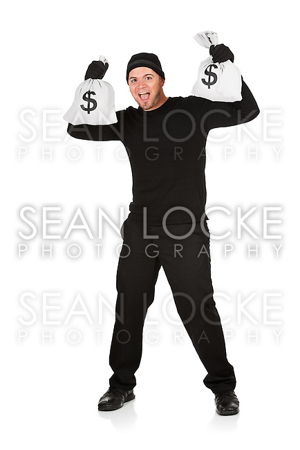 Series with Caucasian male as a burglar or thief, sneaking in a window, carrying stolen goods, etc.  Isolated on white background.