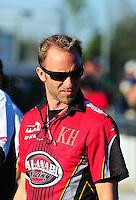 Mar. 12, 2011; Gainesville, FL, USA; NHRA pro stock motorcycle rider Matt Smith during qualifying for the Gatornationals at Gainesville Raceway. Mandatory Credit: Mark J. Rebilas-.