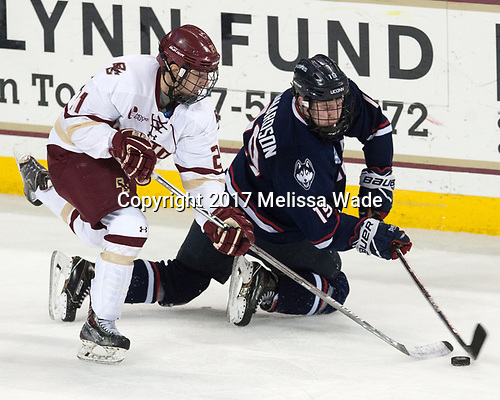 Matthew Gaudreau (BC - 21), Evan Richardson (UConn - 19) - The Boston College Eagles defeated the visiting UConn Huskies 2-1 on Tuesday, January 24, 2017, at Kelley Rink in Conte Forum in Chestnut Hill, Massachusetts.