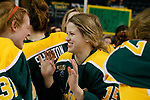 ST CHARLES, MO - MARCH 19:  Amanda Titus (15) of the Clarkson Golden Knights celebrates the Clarkson victory over the Wisconsin Badgers to win the Division I Women's Ice Hockey Championship held at The Family Arena on March 19, 2017 in St Charles, Missouri. Clarkson defeated Wisconsin 3-0 to win the national championship. (Photo by Mark Buckner/NCAA Photos via Getty Images)