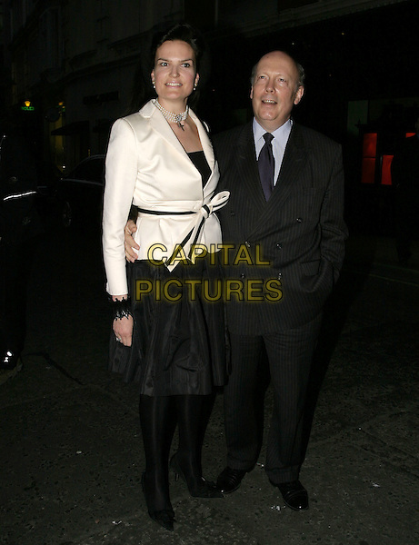 SIR DAVID FROST & WIFE.At the book launch party of Santa Montefiore, Asprey London, New Bond Street, London, April 12th 2005..full length married husband.Ref: AH.www.capitalpictures.com.sales@capitalpictures.com.©Adam Houghton/Capital Pictures.