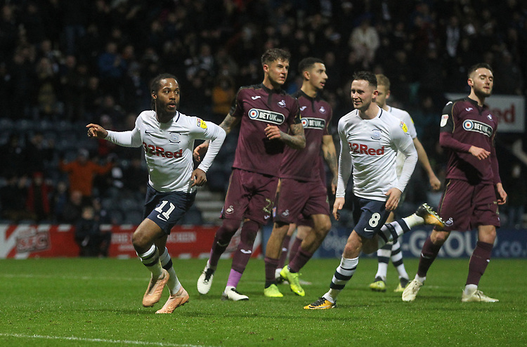 Preston North End's Daniel Johnson celebrates scoring his sides second goal <br /> <br /> Photographer Mick Walker/CameraSport<br /> <br /> The EFL Sky Bet Championship - Preston North End v Swansea City - Saturday 12th January 2019 - Deepdale Stadium - Preston<br /> <br /> World Copyright © 2019 CameraSport. All rights reserved. 43 Linden Ave. Countesthorpe. Leicester. England. LE8 5PG - Tel: +44 (0) 116 277 4147 - admin@camerasport.com - www.camerasport.com