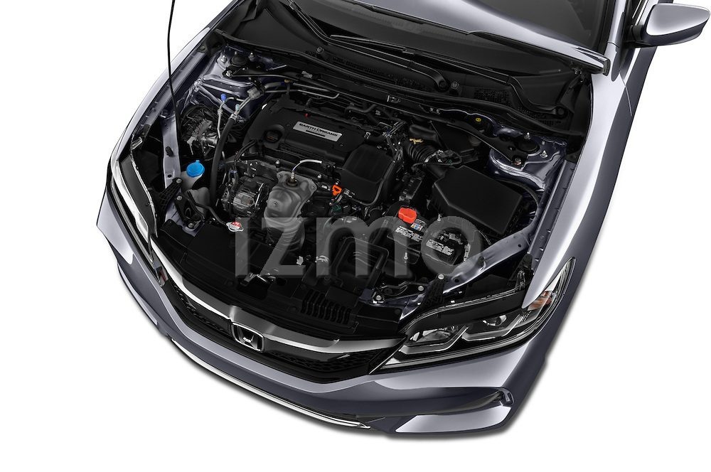 Car Stock 2017 Honda Accord LX-S 2 Door Coupe Engine  high angle detail view