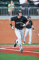 Gavin Sheets (24) of the Wake Forest Demon Deacons hustles down the first base line against the Charlotte 49ers at Hayes Stadium on March 16, 2016 in Charlotte, North Carolina.  The 49ers defeated the Demon Deacons 7-6.  (Brian Westerholt/Four Seam Images)