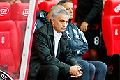 9th September 2017, bet365 Stadium, Stoke-on-Trent, England; EPL Premier League football, Stoke City versus Manchester United; Manchester United Manager Jose Mourinho watches on