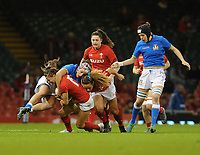 Wales Jaz Joyce is tackled by Italy&rsquo;s Michela Sillari<br /> <br /> Photographer Ian Cook/CameraSport<br /> <br /> 2018 Women's Six Nations Championships Round 4 - Wales Women v Italy Women - Sunday 11th March 2018 - Principality Stadium - Cardiff<br /> <br /> World Copyright &copy; 2018 CameraSport. All rights reserved. 43 Linden Ave. Countesthorpe. Leicester. England. LE8 5PG - Tel: +44 (0) 116 277 4147 - admin@camerasport.com - www.camerasport.com
