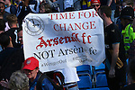 Arsenal fans protest against manager Arsene Wenger during the Barclays Premier League match at the Etihad Stadium. Photo credit should read: Philip Oldham/Sportimage