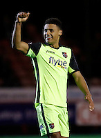 Exeter City's Ollie Watkins is all smiles after scoring during the Sky Bet League 2 match between Crawley Town and Exeter City at Broadfield Stadium, Crawley, England on 28 February 2017. Photo by Carlton Myrie / PRiME Media Images.
