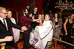 Katrina Yaukey and Josh Groban with company during the Broadway Opening Night Actors' Equity Gypsy Robe Ceremony honoring Katrina Yaukey  for  'Natasha, Pierre & The Great Comet Of 1812' at The Imperial Theatre on November 14, 2016 in New York City.