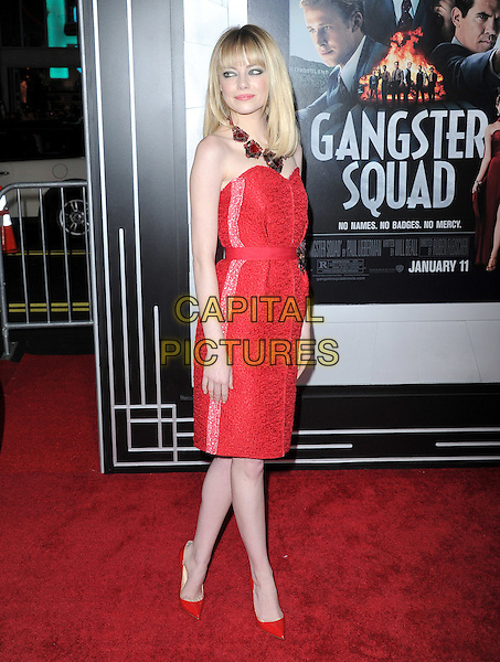 "Emma Stone (wearing Lanvin).""Gangster Squad"" Los Angeles Premiere held at Grauman's Chinese Theatre, Hollywood, California, USA.     .January 7th, 2013.full length red strapless dress lace side brooch shoes brooch belt necklace .CAP/DVS.©DVS/Capital Pictures."