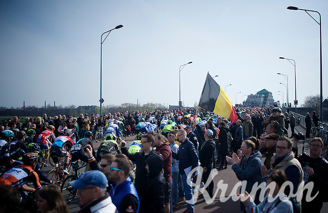 big crowds cheering the peloton out of Maastricht<br /> <br /> 50th Amstel Gold Race 2015