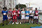 From Left to Right: Leicester City's Hamza Dewan Choudhury, Aston Villa's Harry McKirdy, Bayer Leverkusen's Joel Abu Hanna, Cagliari Calcio's Vasco Oliveira, Olympique Marseille's Lucas Genty, Glasgow Rangers' Max Ambrose, Causeway Bay's Andrew Wylde, and West Ham United's Moses Makasi pose for a photograph near the Noon Day Gun to celebrate the launch of the HKFC Citi Soccer Sevens 2017 on 25 May 2017 in Causeway Bay, Hong Kong, China. Photo by Chris Wong / Power Sport Images