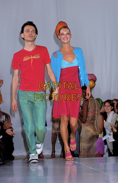 MATTHEW WILLIAMSON, KATE MOSS..sales@capitalpictures.com..www.capitalpictures.com..©Capital Pictures..smiling, catwalk, holding hands, red hat, hair piece, blue sweater, blue cardigan, blue and pink dress